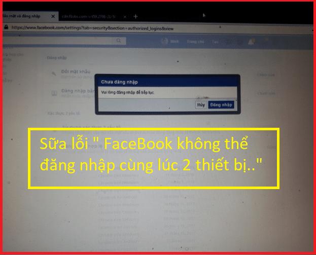Lỗi đăng nhập facebook ở máy tính thì điện thoại bị văng ra
